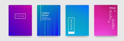 书套模板传染媒介集合的颜色梯度摘要几何样式纹理 库存例证