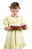 书女孩一点读取 免版税库存图片