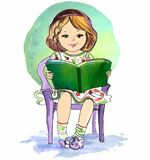 书女孩读取年轻人 也corel凹道例证向量 免版税库存图片