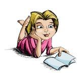 书女孩读取 皇族释放例证