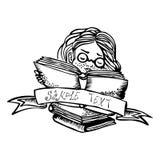 书女孩玻璃读 免版税库存照片