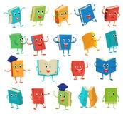书字符传染媒介动画片与幼稚面孔表示的情感课本在学校例证的笔记本盖子 皇族释放例证