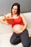 书家庭怀孕的读取妇女 免版税图库摄影