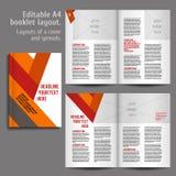 A4书布局设计模板 免版税库存图片