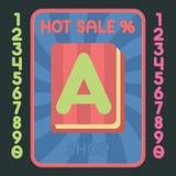 书平的设计象 传染媒介热的销售标签 免版税库存图片