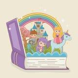 书开放与与公主独角兽的和战士的童话美人鱼 向量例证