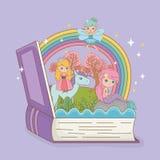 书开放与与公主的童话美人鱼独角兽的 皇族释放例证