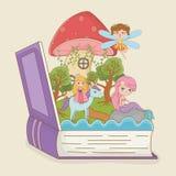 书开放与与公主的童话美人鱼独角兽的 向量例证