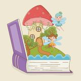 书开放与童话与神仙的场面真菌 皇族释放例证