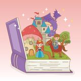 书开放与童话城堡和小组字符 向量例证