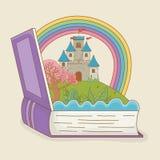 书开放与童话城堡和彩虹 库存例证