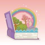 书开放与童话美人鱼和彩虹 库存例证