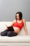 书怀孕的读取坐的沙发妇女 库存照片