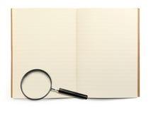 书执行玻璃扩大化 免版税图库摄影