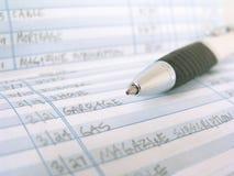 书支票登记簿 免版税库存照片