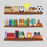 书架 室内书店 用被设置的不同的书的书架 家庭书库内部 读和学会,知识和edu 皇族释放例证