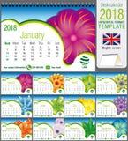 书桌三角与抽象花卉设计的日历2018年模板 大小:21 cm x 15 cm 格式A5 蓝色云彩图象彩虹天空向量 库存照片