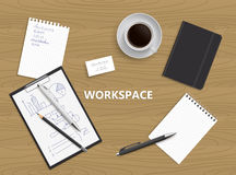 书桌背景顶视图  工作区例证 免版税库存图片