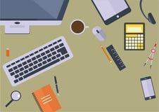 书桌视图平的设计 库存照片