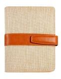 书棕色帆布盖子查出的皮革附注 免版税库存照片
