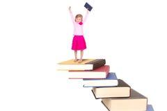 书楼梯的孩子  库存图片