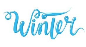 书法与词冬天 在3d样式,传染媒介例证的手拉的字法,隔绝在白色 免版税图库摄影