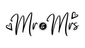 书法先生amd夫人新娘和新郎 免版税库存照片