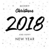 书法圣诞快乐2018年和新年快乐贺卡 库存图片