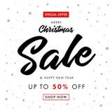 书法圣诞节销售和新年快乐横幅 免版税库存照片