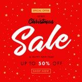 书法圣诞节销售,新年快乐红色横幅 免版税库存照片