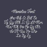书法拉丁字母monoline字体在黑暗的背景的 传染媒介手写的英语字母表 库存例证
