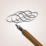 书法笔被做转动 免版税库存图片