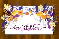 书法花卉卡片 库存例证