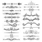 书法装饰分切器集合,装饰典雅的设计 库存例证