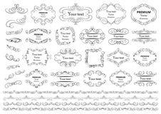 书法设计元素 装饰漩涡或纸卷、葡萄酒框架、华丽、标签和分切器 减速火箭的传染媒介illust 皇族释放例证