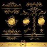 书法金黄的集和装饰要素 免版税图库摄影