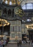 书法roundels和小圆顶在圣索非亚大教堂里面 图库摄影