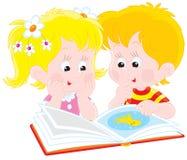书男孩女孩读 向量例证
