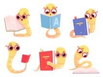 书痴动画片 回到学校字符看书图书馆蠕虫愉快的聪明的小动物传染媒介例证 库存例证