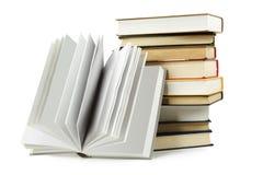 书登记一被开张的栈 免版税库存图片