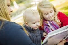 读书的母亲对她的两个可爱的白肤金发的孩子 免版税库存图片