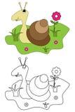 书着色开玩笑页蜗牛 免版税库存图片