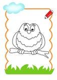 书着色猫头鹰木头 免版税库存图片