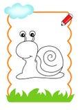 书着色蜗牛木头 免版税库存图片