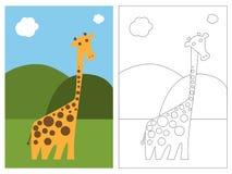 书着色长颈鹿页 免版税库存图片