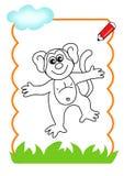 书着色猴子木头 库存图片