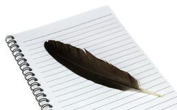 书空白页和羽毛 免版税库存图片