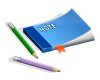 书签笔记本铅笔 免版税库存图片
