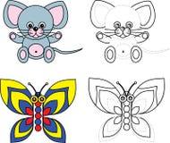 书蝴蝶着色开玩笑鼠标页 免版税库存照片