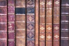 书被限制的皮革老脊椎 免版税库存图片
